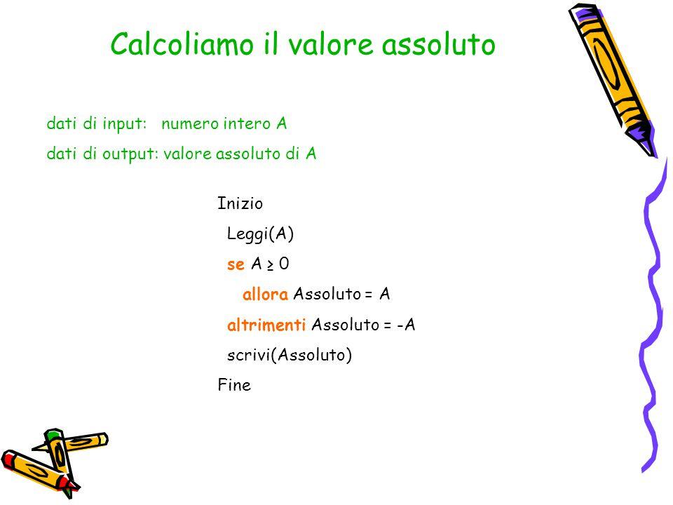 Calcoliamo il valore assoluto dati di input: numero intero A dati di output: valore assoluto di A Inizio Leggi(A) se A ≥ 0 allora Assoluto = A altrime