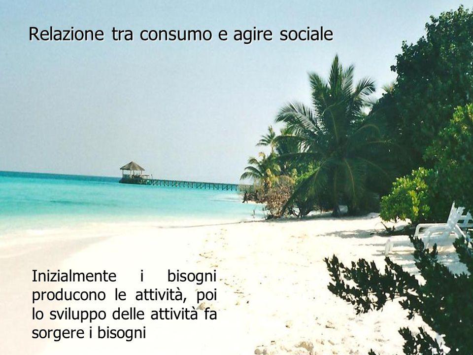Relazione tra consumo e agire sociale Inizialmente i bisogni producono le attività, poi lo sviluppo delle attività fa sorgere i bisogni