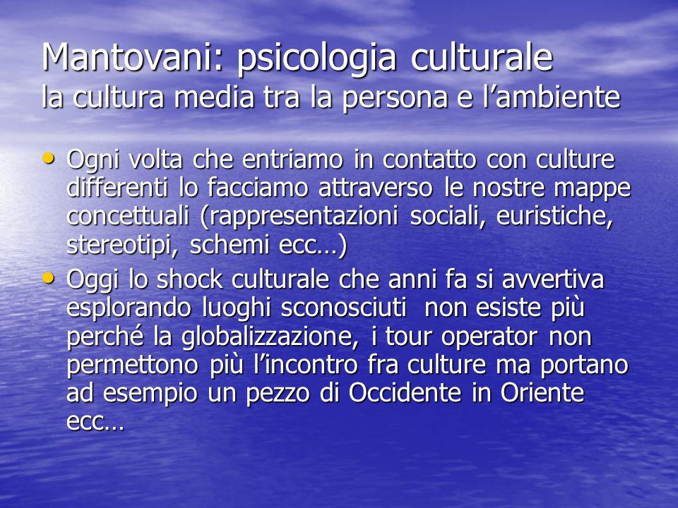 Mantovani: psicologia culturale la cultura media tra la persona e l'ambiente Ogni volta che entriamo in contatto con culture differenti lo facciamo at