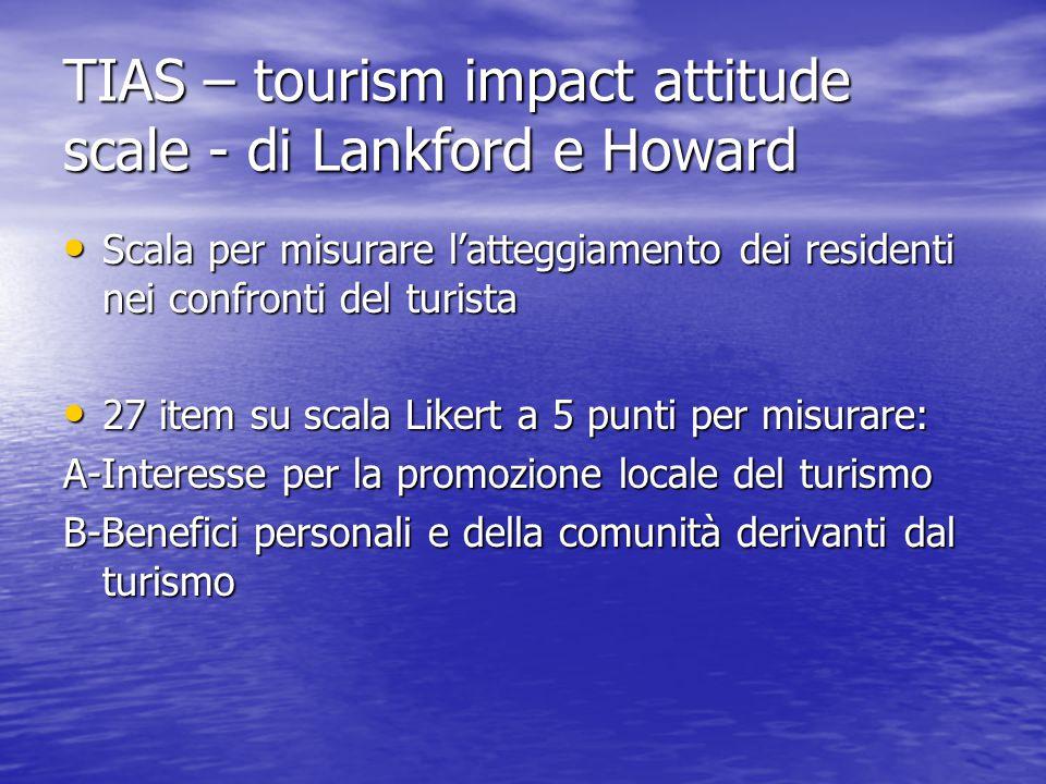 TIAS – tourism impact attitude scale - di Lankford e Howard Scala per misurare l'atteggiamento dei residenti nei confronti del turista Scala per misur