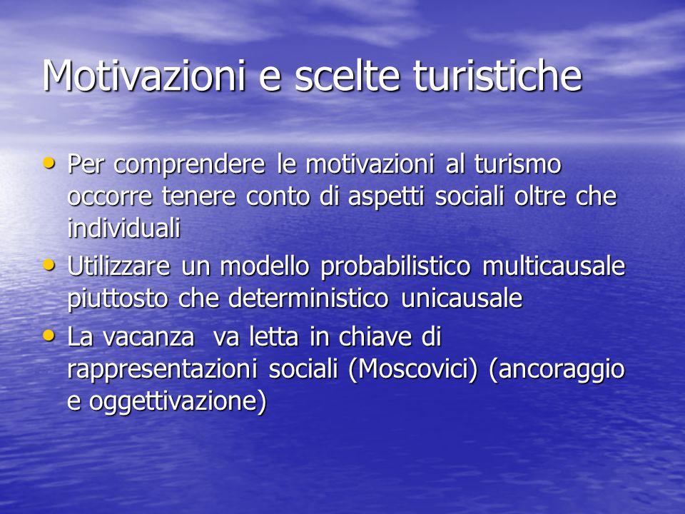 Motivazioni e scelte turistiche Per comprendere le motivazioni al turismo occorre tenere conto di aspetti sociali oltre che individuali Per comprender