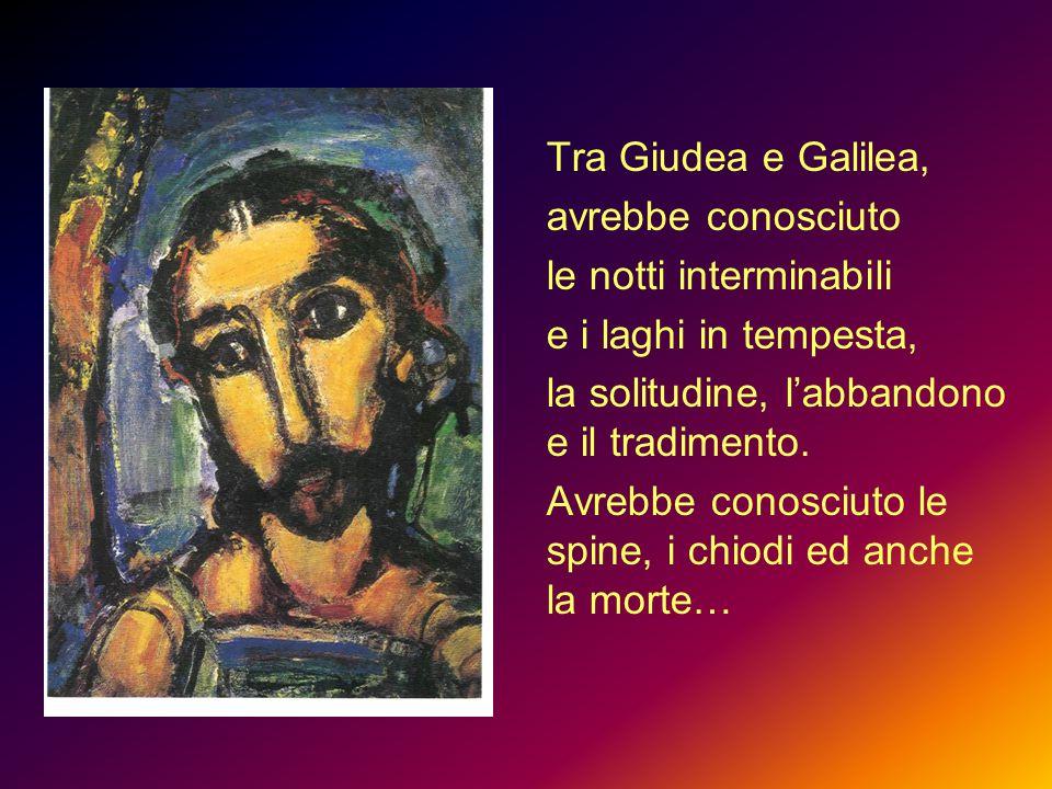 Tra Giudea e Galilea, avrebbe conosciuto le notti interminabili e i laghi in tempesta, la solitudine, l'abbandono e il tradimento. Avrebbe conosciuto