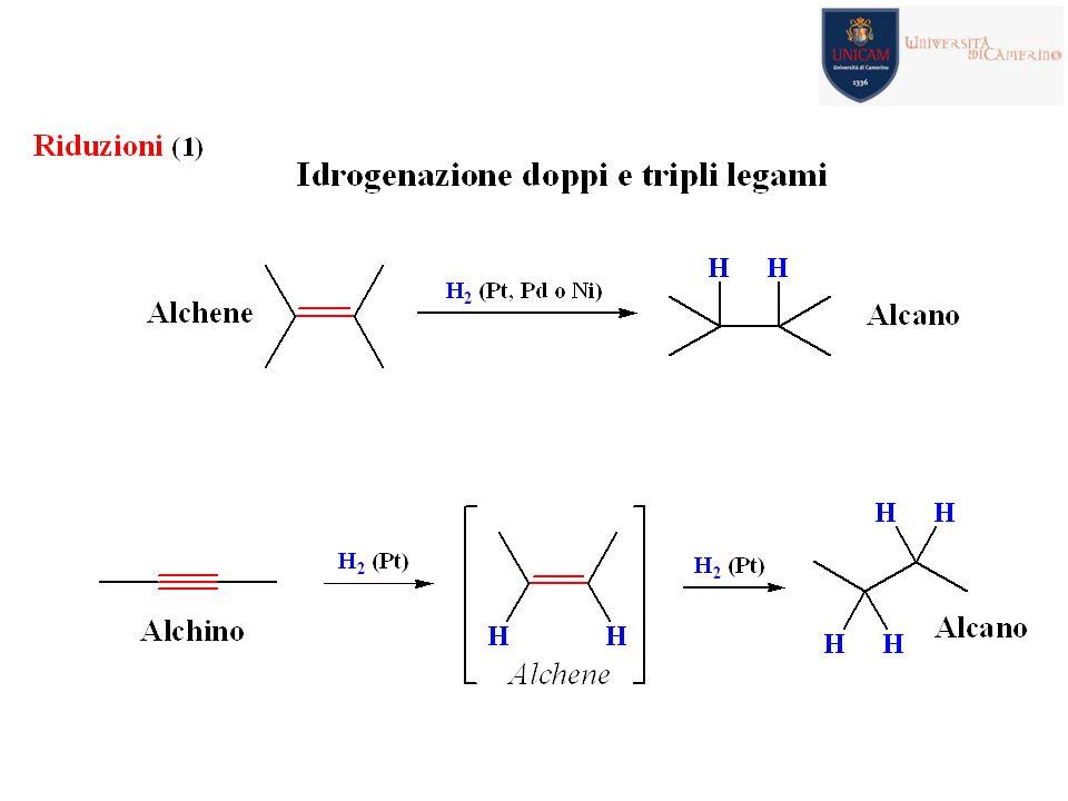 *Palladio di Lindlar (Catalizzatore di Lindlar) - Pd supportato su CaCO 3 e trattato con acetato di piombo(II) e chinolina - Questo trattamento modifica la superficie del palladio, rendendolo molto più efficace nel catalizzare l addizione di idrogeno ad un triplo legame che ad uno doppio Riduzioni (1a)