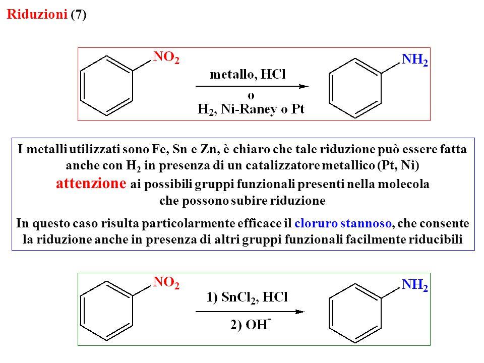 Riduzioni (7) I metalli utilizzati sono Fe, Sn e Zn, è chiaro che tale riduzione può essere fatta anche con H 2 in presenza di un catalizzatore metall
