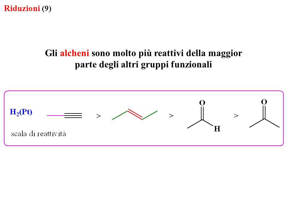 Gli alcheni sono molto più reattivi della maggior parte degli altri gruppi funzionali Riduzioni (9)