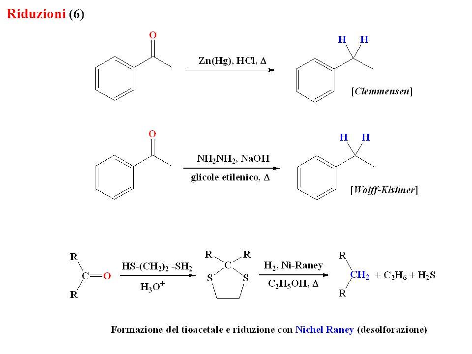 Riduzioni (7) I metalli utilizzati sono Fe, Sn e Zn, è chiaro che tale riduzione può essere fatta anche con H 2 in presenza di un catalizzatore metallico (Pt, Ni) attenzione ai possibili gruppi funzionali presenti nella molecola che possono subire riduzione In questo caso risulta particolarmente efficace il cloruro stannoso, che consente la riduzione anche in presenza di altri gruppi funzionali facilmente riducibili