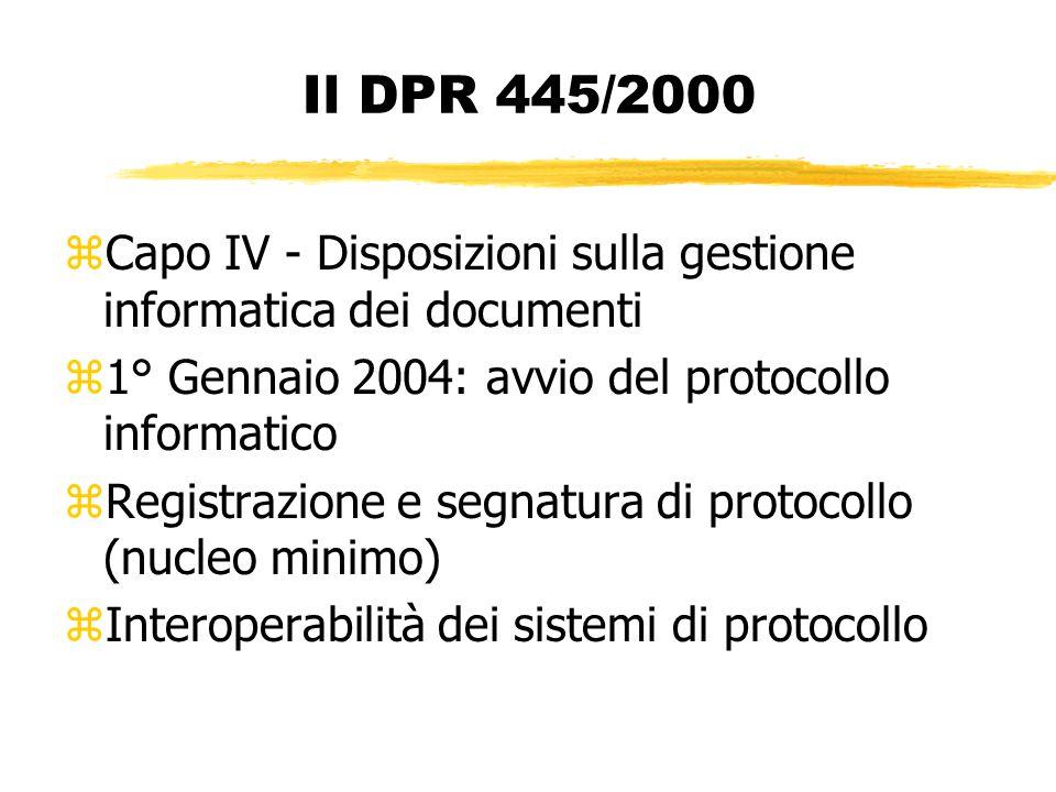 Il DPR 445/2000 zCapo IV - Disposizioni sulla gestione informatica dei documenti z1° Gennaio 2004: avvio del protocollo informatico zRegistrazione e segnatura di protocollo (nucleo minimo) zInteroperabilità dei sistemi di protocollo