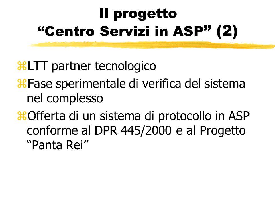 Il progetto Centro Servizi in ASP (2) zLTT partner tecnologico zFase sperimentale di verifica del sistema nel complesso zOfferta di un sistema di protocollo in ASP conforme al DPR 445/2000 e al Progetto Panta Rei
