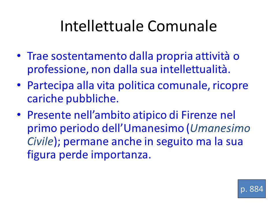 Intellettuale Comunale Trae sostentamento dalla propria attività o professione, non dalla sua intellettualità.