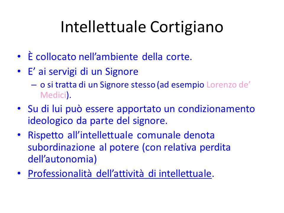 Intellettuale Cortigiano È collocato nell'ambiente della corte. E' ai servigi di un Signore – o si tratta di un Signore stesso (ad esempio Lorenzo de'