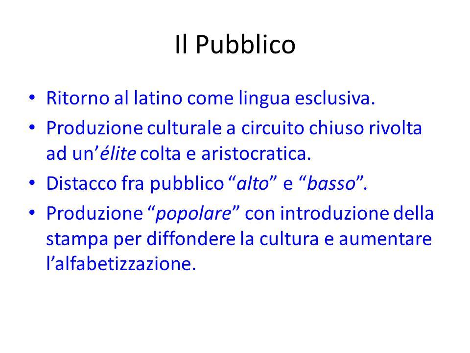 Il Pubblico Ritorno al latino come lingua esclusiva. Produzione culturale a circuito chiuso rivolta ad un'élite colta e aristocratica. Distacco fra pu