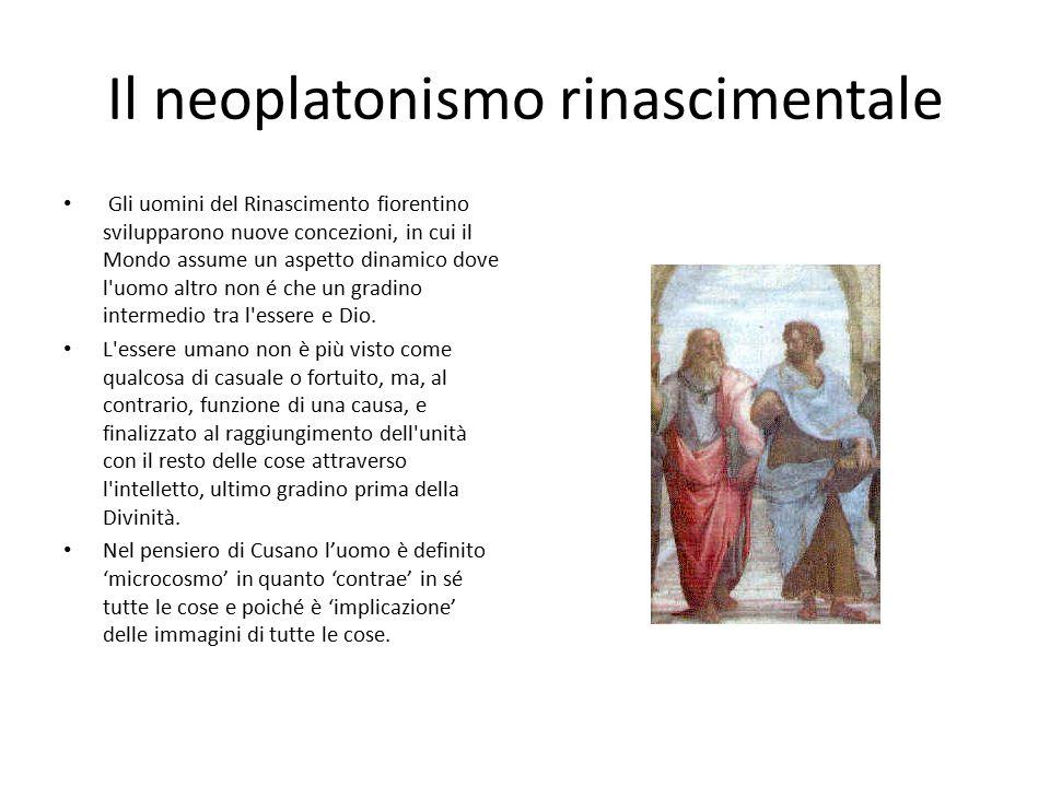 Il neoplatonismo rinascimentale Gli uomini del Rinascimento fiorentino svilupparono nuove concezioni, in cui il Mondo assume un aspetto dinamico dove