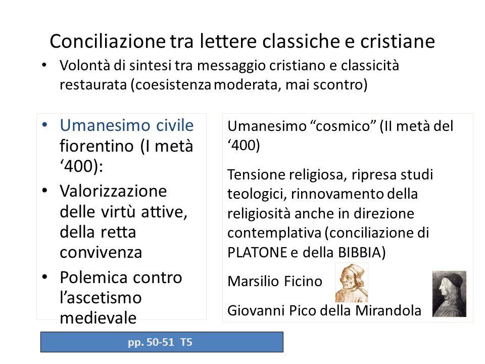 Conciliazione tra lettere classiche e cristiane Volontà di sintesi tra messaggio cristiano e classicità restaurata (coesistenza moderata, mai scontro)