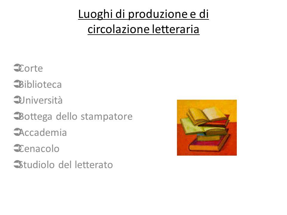 Luoghi di produzione e di circolazione letteraria  Corte  Biblioteca  Università  Bottega dello stampatore  Accademia  Cenacolo  Studiolo del letterato