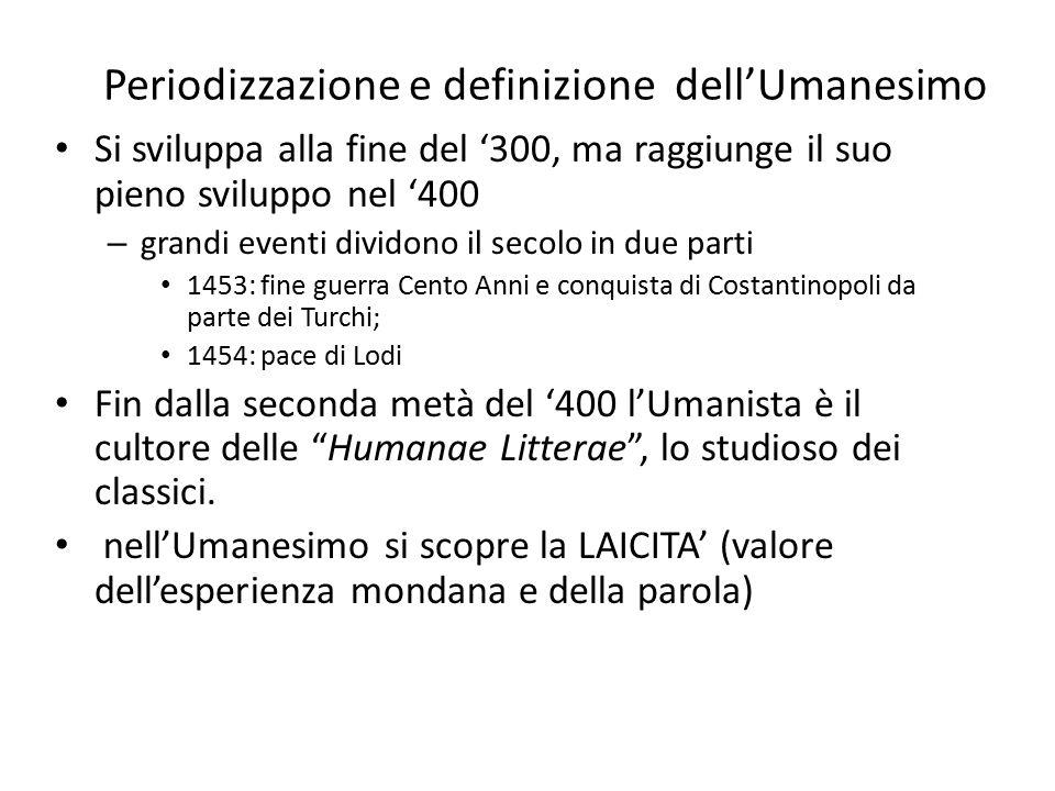 Sviluppo dell'Umanesimo Avviene principalmente nella città di Firenze (Repubblica fino al1434 > avvento dei Medici), – infatti Petrarca e Boccaccio possono definirsi i precursori di questo periodo storico.