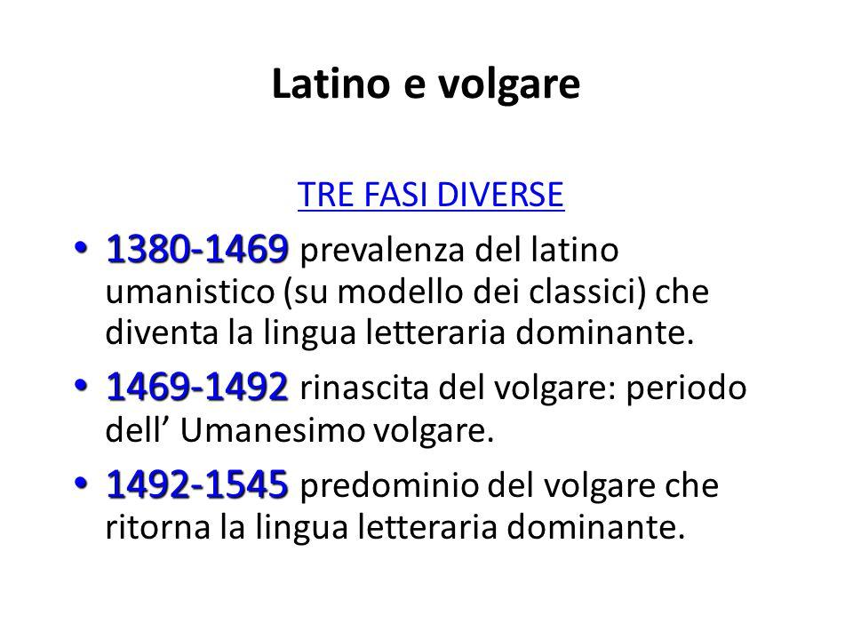 Latino e volgare TRE FASI DIVERSE 1380-1469 1380-1469 prevalenza del latino umanistico (su modello dei classici) che diventa la lingua letteraria domi