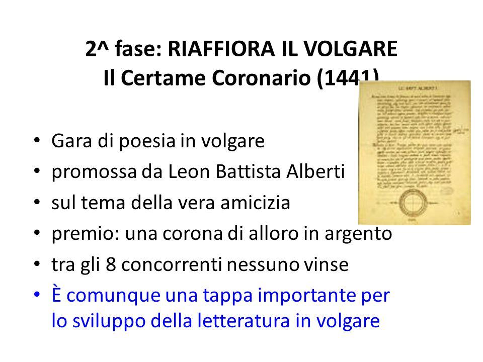2^ fase: RIAFFIORA IL VOLGARE Il Certame Coronario (1441) Gara di poesia in volgare promossa da Leon Battista Alberti sul tema della vera amicizia pre