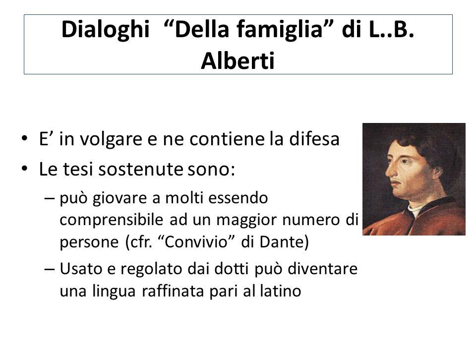 """Dialoghi """"Della famiglia"""" di L..B. Alberti E' in volgare e ne contiene la difesa Le tesi sostenute sono: – può giovare a molti essendo comprensibile a"""