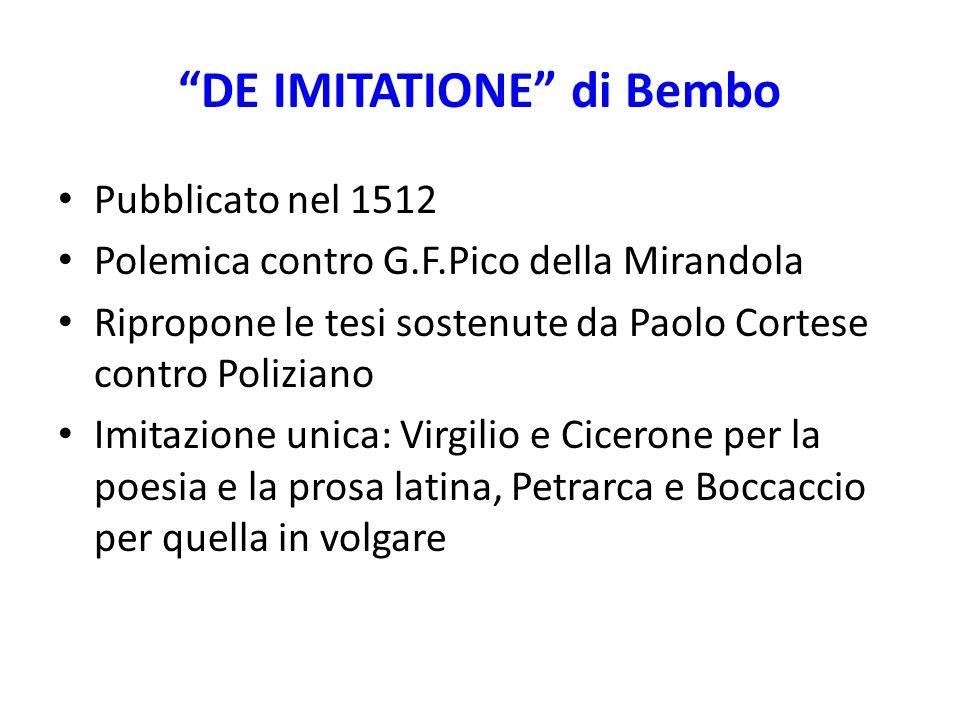 """""""DE IMITATIONE"""" di Bembo Pubblicato nel 1512 Polemica contro G.F.Pico della Mirandola Ripropone le tesi sostenute da Paolo Cortese contro Poliziano Im"""
