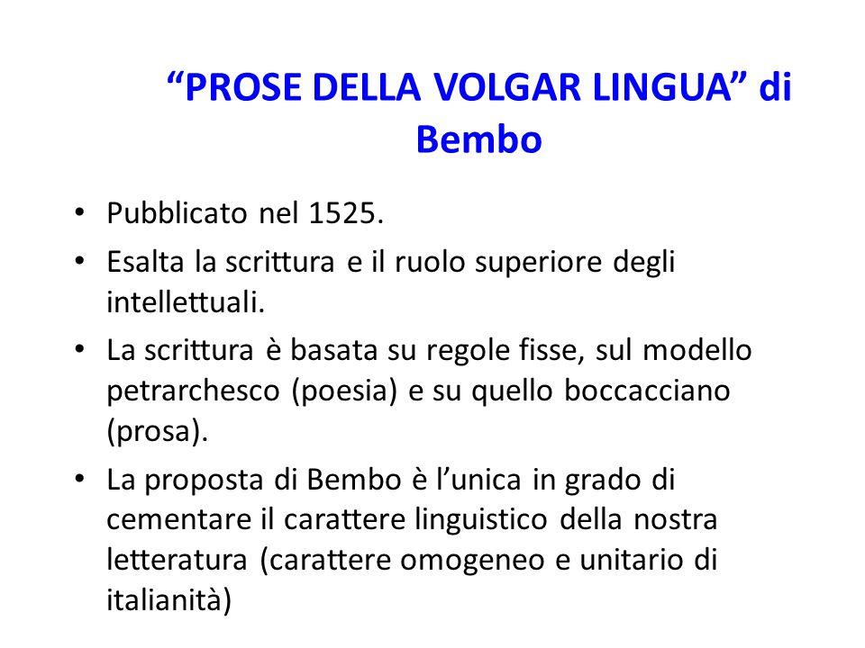 """""""PROSE DELLA VOLGAR LINGUA"""" di Bembo Pubblicato nel 1525. Esalta la scrittura e il ruolo superiore degli intellettuali. La scrittura è basata su regol"""