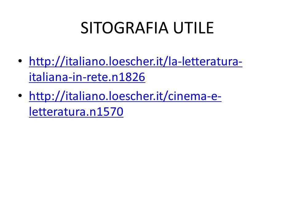 SITOGRAFIA UTILE http://italiano.loescher.it/la-letteratura- italiana-in-rete.n1826 http://italiano.loescher.it/la-letteratura- italiana-in-rete.n1826 http://italiano.loescher.it/cinema-e- letteratura.n1570 http://italiano.loescher.it/cinema-e- letteratura.n1570