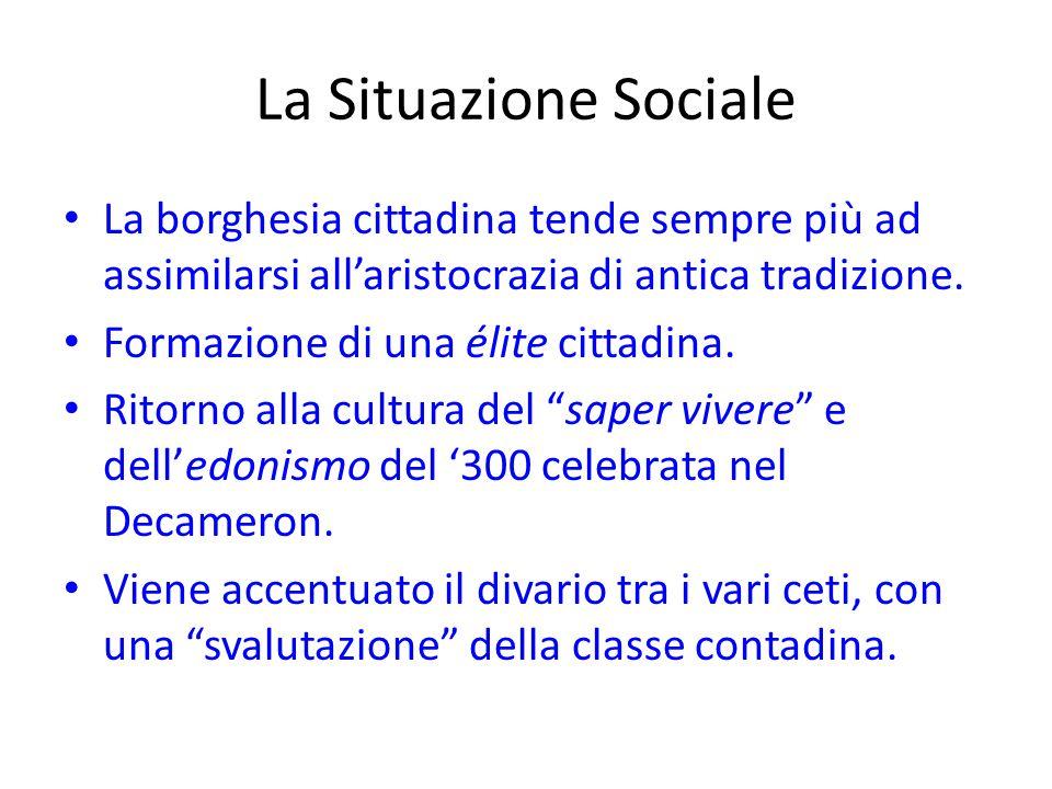 La Situazione Sociale La borghesia cittadina tende sempre più ad assimilarsi all'aristocrazia di antica tradizione. Formazione di una élite cittadina.