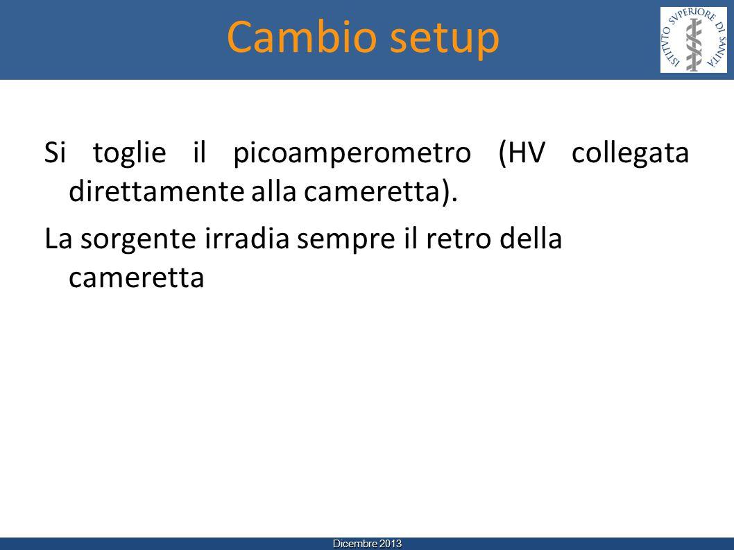 Dicembre 2013 Si toglie il picoamperometro (HV collegata direttamente alla cameretta).