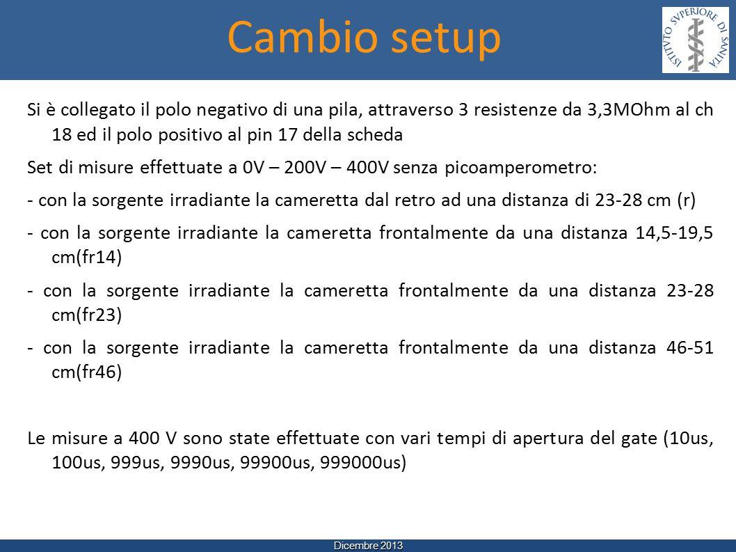 Dicembre 2013 Si è collegato il polo negativo di una pila, attraverso 3 resistenze da 3,3MOhm al ch 18 ed il polo positivo al pin 17 della scheda Set di misure effettuate a 0V – 200V – 400V senza picoamperometro: - con la sorgente irradiante la cameretta dal retro ad una distanza di 23-28 cm (r) - con la sorgente irradiante la cameretta frontalmente da una distanza 14,5-19,5 cm(fr14) - con la sorgente irradiante la cameretta frontalmente da una distanza 23-28 cm(fr23) - con la sorgente irradiante la cameretta frontalmente da una distanza 46-51 cm(fr46) Le misure a 400 V sono state effettuate con vari tempi di apertura del gate (10us, 100us, 999us, 9990us, 99900us, 999000us) Cambio setup