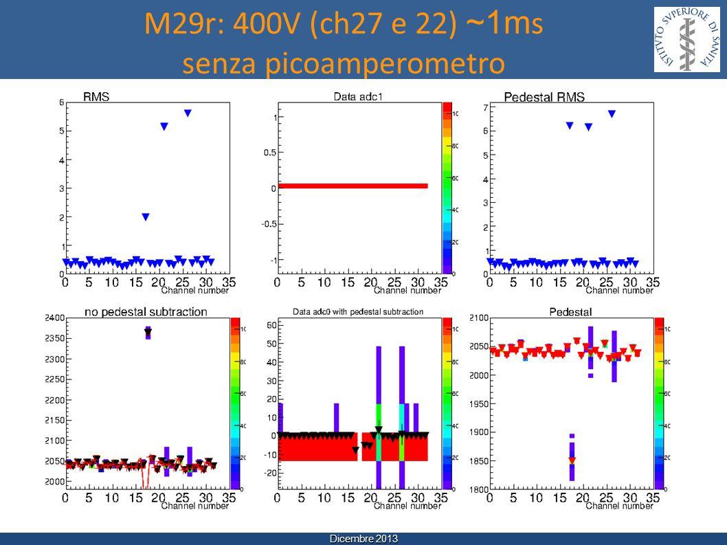 Dicembre 2013 M29r: 400V (ch27 e 22) ~1m s senza picoamperometro