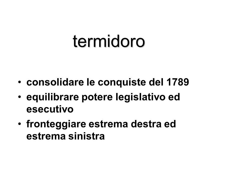 termidoro consolidare le conquiste del 1789 equilibrare potere legislativo ed esecutivo fronteggiare estrema destra ed estrema sinistra