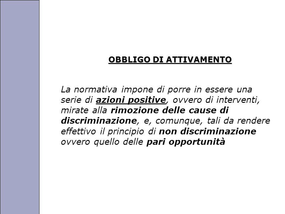 Università degli Studi di Perugia OBBLIGO DI ATTIVAMENTO La normativa impone di porre in essere una serie di azioni positive, ovvero di interventi, mirate alla rimozione delle cause di discriminazione, e, comunque, tali da rendere effettivo il principio di non discriminazione ovvero quello delle pari opportunità