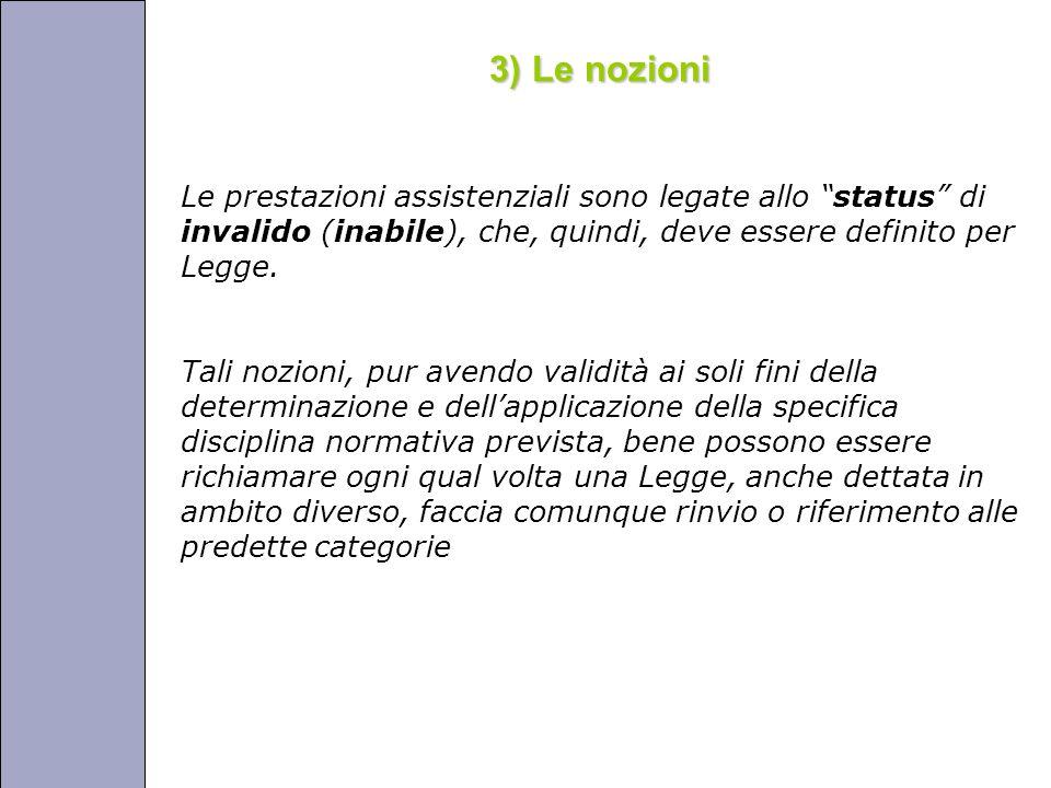 Università degli Studi di Perugia 3) Le nozioni Le prestazioni assistenziali sono legate allo status di invalido (inabile), che, quindi, deve essere definito per Legge.