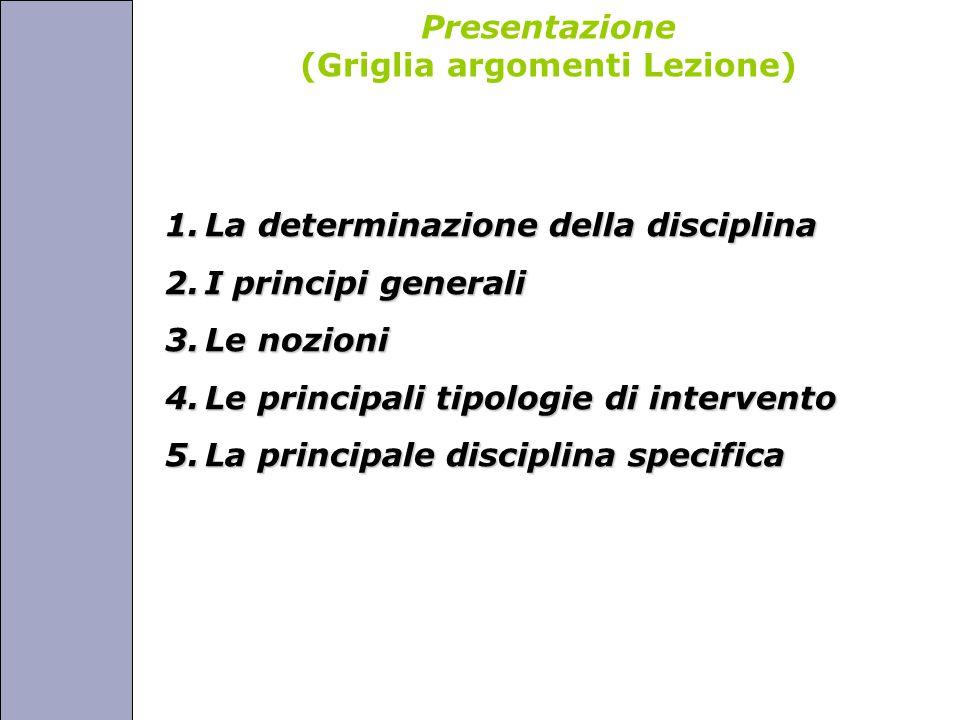 Università degli Studi di Perugia Presentazione (Griglia argomenti Lezione) 1.La determinazione della disciplina 2.I principi generali 3.Le nozioni 4.Le principali tipologie di intervento 5.La principale disciplina specifica