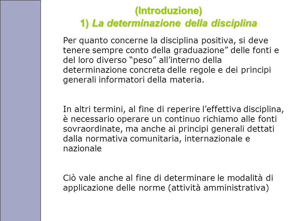 Università degli Studi di Perugia (Introduzione) 1) La determinazione della disciplina Per quanto concerne la disciplina positiva, si deve tenere sempre conto della graduazione delle fonti e del loro diverso peso all'interno della determinazione concreta delle regole e dei principi generali informatori della materia.