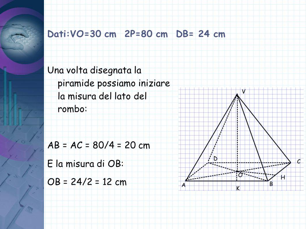 Dati:VO=30 cm 2P=80 cm DB= 24 cm Conoscendo AB e OB, visto che AOB è un triangolo rettangolo possiamo trovare la misura di AO: AO=√(AB 2 -OB 2 ) = √(20 2 - 12 2 )=16 cm E quindi: AC= 16x2= 32 cm