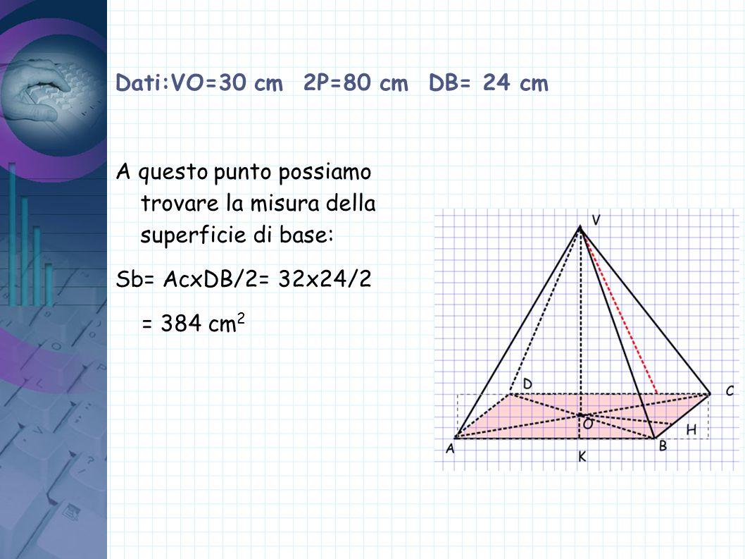 Dati:VO=30 cm 2P=80 cm DB= 24 cm Conoscendo la misura dell apotema possiamo trovare la superficie laterale: Sl = (BCxVH)x2 =(20x31,5)x 2= 1260 cm 2 Quindi l superficie totale: Stot=Sb+Sl=384+1260= =1644 cm 2