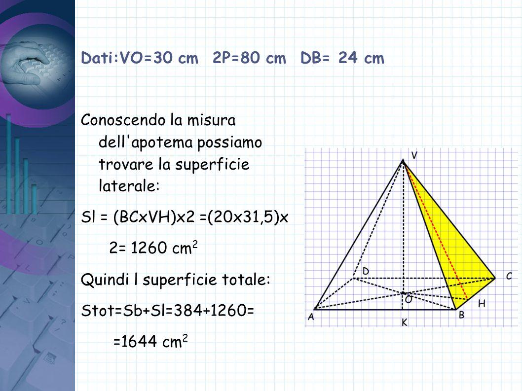 Dati:VO=30 cm 2P=80 cm DB= 24 cm Conoscendo la misura dell'apotema possiamo trovare la superficie laterale: Sl = (BCxVH)x2 =(20x31,5)x 2= 1260 cm 2 Qu
