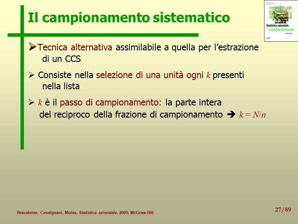 27/89 Bracalente, Cossignani, Mulas, Statistica aziendale, 2009, McGraw-Hill Il campionamento sistematico   Tecnica alternativa assimilabile a quell