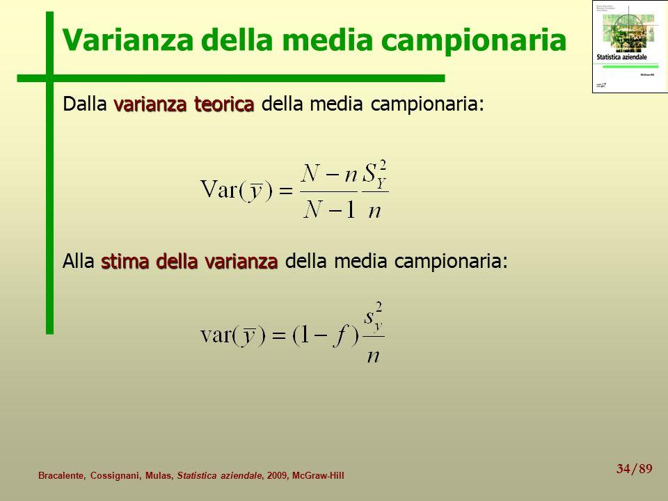 34/89 Bracalente, Cossignani, Mulas, Statistica aziendale, 2009, McGraw-Hill Varianza della media campionaria varianza teorica Dalla varianza teorica
