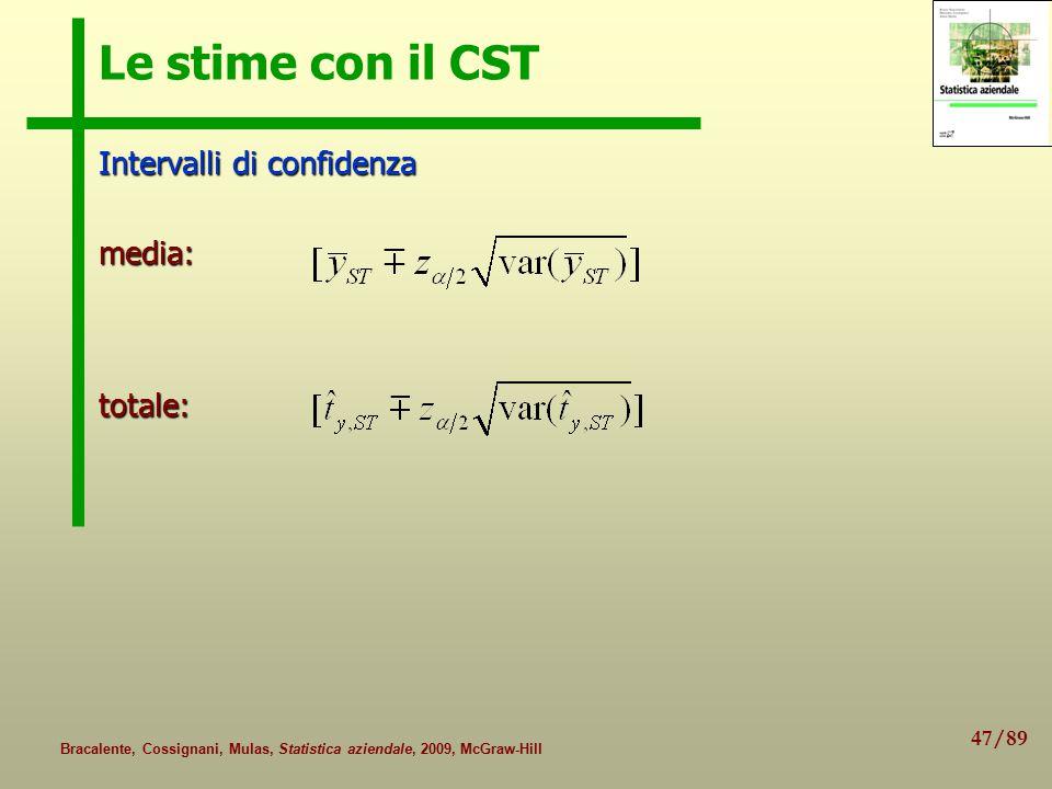 47/89 Bracalente, Cossignani, Mulas, Statistica aziendale, 2009, McGraw-Hill Le stime con il CST Intervalli di confidenza media:totale:
