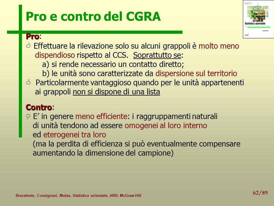 62/89 Bracalente, Cossignani, Mulas, Statistica aziendale, 2009, McGraw-Hill Pro e contro del CGRA Pro Pro:  Effettuare la rilevazione solo su alcuni