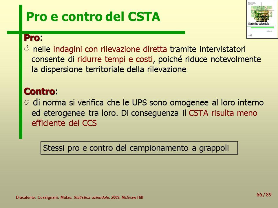 66/89 Bracalente, Cossignani, Mulas, Statistica aziendale, 2009, McGraw-Hill Pro e contro del CSTA Pro Pro:  nelle indagini con rilevazione diretta t