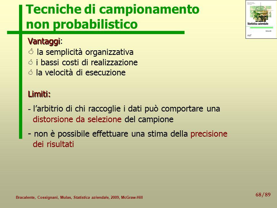 68/89 Bracalente, Cossignani, Mulas, Statistica aziendale, 2009, McGraw-Hill Tecniche di campionamento non probabilistico Vantaggi Vantaggi:  la semp