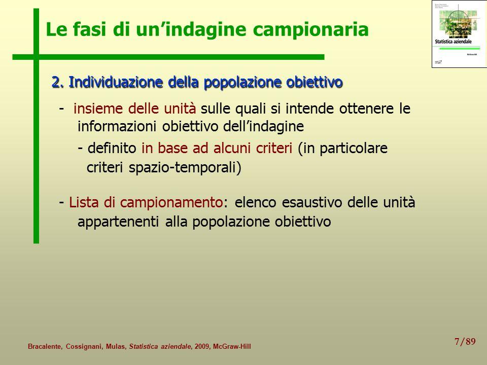 7/89 Bracalente, Cossignani, Mulas, Statistica aziendale, 2009, McGraw-Hill Le fasi di un'indagine campionaria 2.