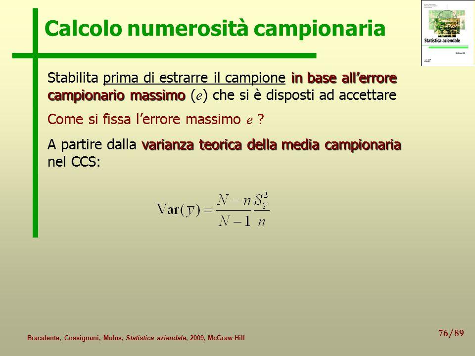 76/89 Bracalente, Cossignani, Mulas, Statistica aziendale, 2009, McGraw-Hill Calcolo numerosità campionaria in base all'errore campionario massimo Sta