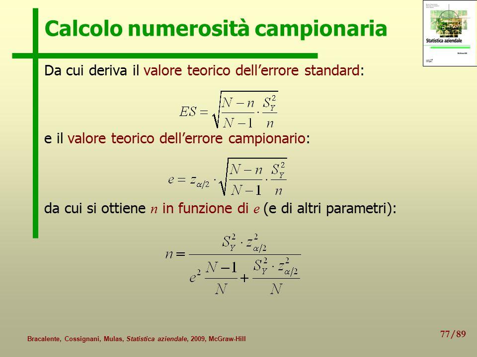 77/89 Bracalente, Cossignani, Mulas, Statistica aziendale, 2009, McGraw-Hill Calcolo numerosità campionaria Da cui deriva il valore teorico dell'errore standard: e il valore teorico dell'errore campionario: da cui si ottiene n in funzione di e (e di altri parametri):