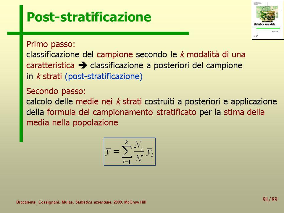 91/89 Bracalente, Cossignani, Mulas, Statistica aziendale, 2009, McGraw-Hill Post-stratificazione Primo passo: classificazione del campione secondo le