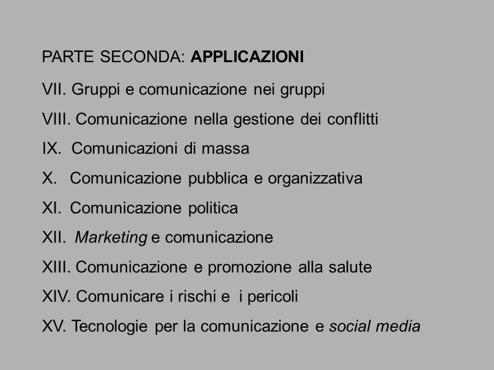 PARTE SECONDA: APPLICAZIONI VII. Gruppi e comunicazione nei gruppi VIII. Comunicazione nella gestione dei conflitti IX. Comunicazioni di massa X.Comun