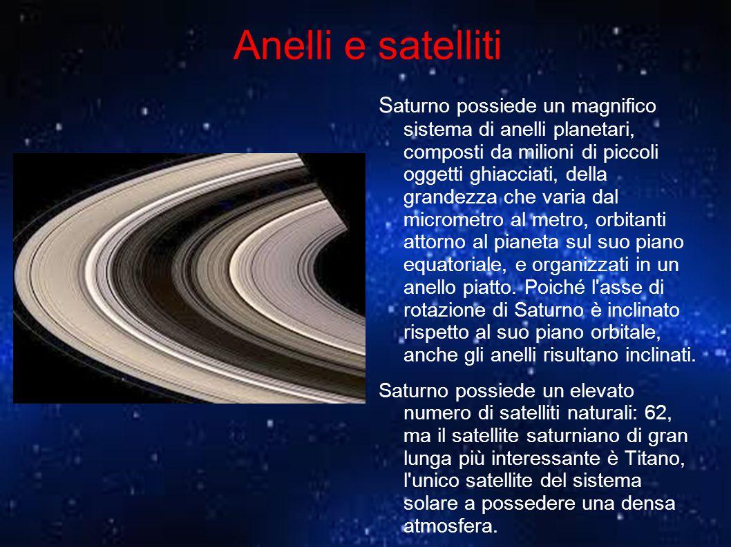 Anelli e satelliti S aturno possiede un magnifico sistema di anelli planetari, composti da milioni di piccoli oggetti ghiacciati, della grandezza che