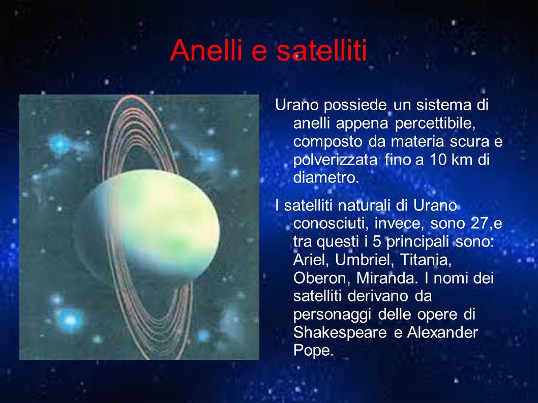 Anelli e satelliti Urano possiede un sistema di anelli appena percettibile, composto da materia scura e polverizzata fino a 10 km di diametro. I satel